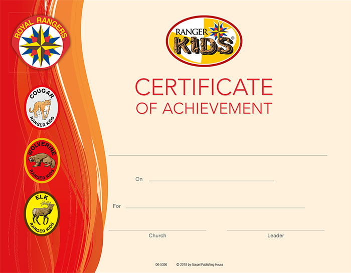Ranger Kids Certificate of Achievement