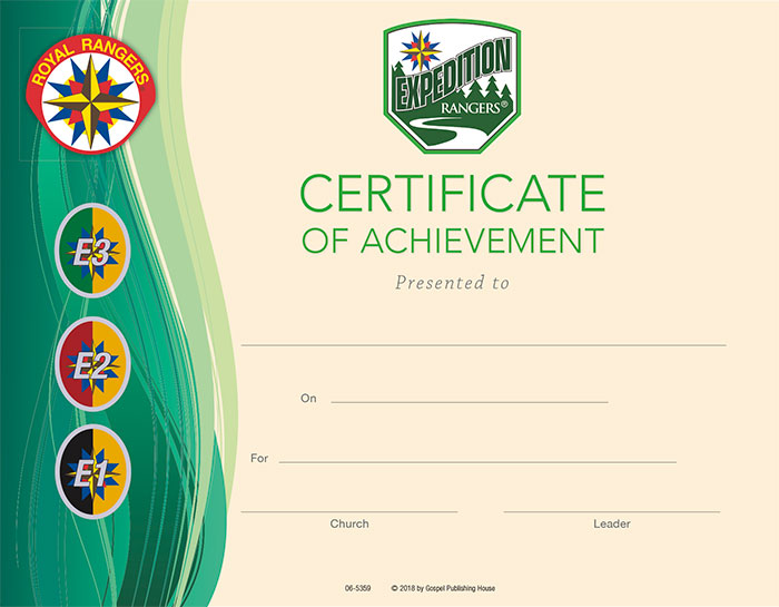 Expedition Rangers Certificate of Achievement