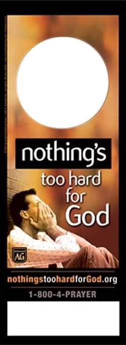 Nothing's Too Hard for God Doorknob Hanger