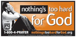Nothing's Too Hard for God Window Decal