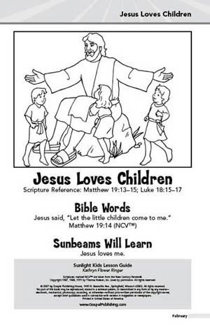 Sunlight Kids Lesson Book Jesus Loves Children February