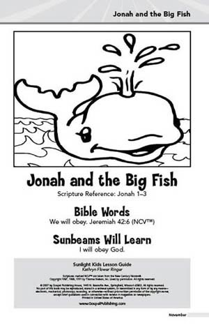 Sunlight Kids Lesson Book Jonah And The Big Fish