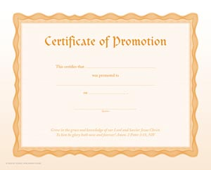 certificate of promotion my healthy church