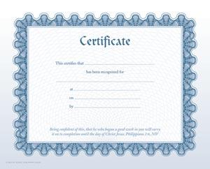 Generic Certificate My Healthy Church 174